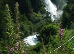 Ötztalské údolí s kartou a termály 2021 Alpy Rakousko - Tyrolsko - vodopád Stuibenfall
