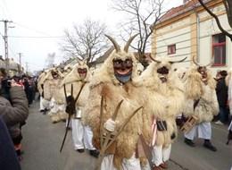 Maďarsko - Moháč - slavnosti Busójárás, mladí muži oblečení do ovčích roun s maskami