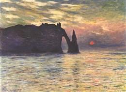 Francie - Claude Monet - Coucher de soleil à Étretat   z roku 1883