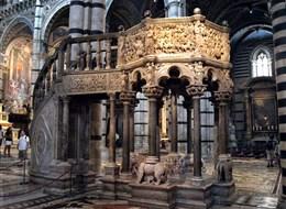 Itálie - Lazio - Siena, Duomo, kazatelna, Arnolf di Cambio, 1265-8 podle návrhu Nicoly Pisano, jedno z velkých děl světového umění