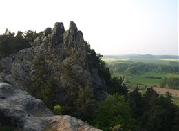 Německo - Harz - Teufelsmauer (Čertova zeď), pevné santonské pískovce vyzdvižené podél hlubinného zlomu