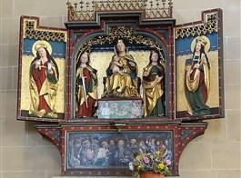 Cibulový festival ve Výmaru a nezapomenutelný Erfurt 2020  Německo - Erfurt - Severikirche, gotický křídlový oltář P.Marie, kol 1510