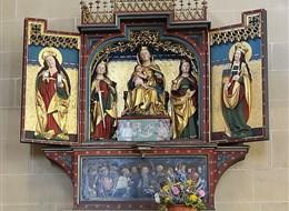 Cibulový festival ve Výmaru a nezapomenutelný Erfurt 2020 Burgenlandsko Německo - Erfurt - Severikirche, gotický křídlový oltář P.Marie, kol 1510