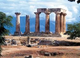 Řecko, za starověkými památkami letecky 2021  Řecko, zříceniny chrámu